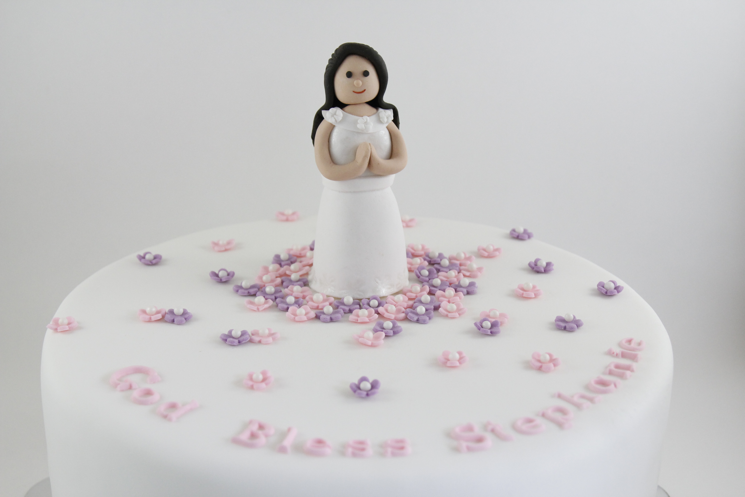 First Holy Communion Cake Topper – Fondant Girl | Cake ...